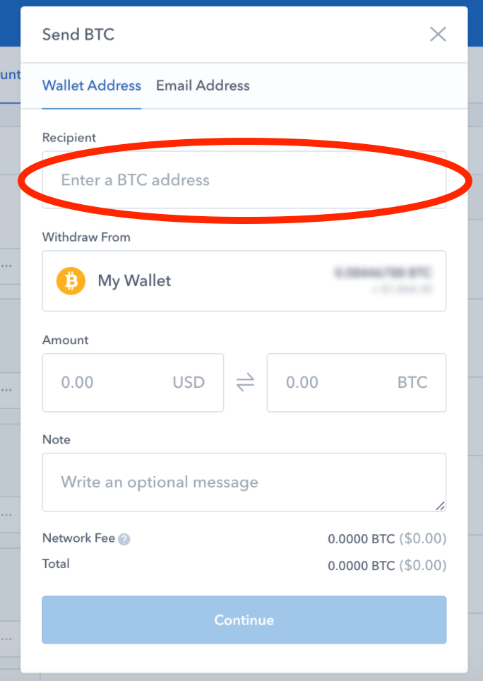Coinbase send form